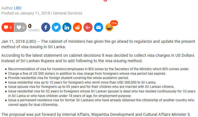 Sri Lanka Govt issues new guideline for visa